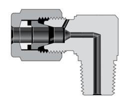 Угольники с наружной трубной резьбой и трубным обжимным фитингом высокого давления