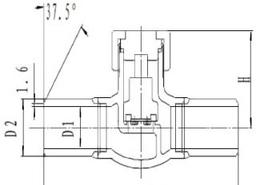 Обратный клапан CCK DH61F-40P с трубками под приварку
