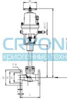 Криогенный запорный клапан типа T216DA20-200 с пневматическим приводом