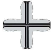 Фитинги с торцевым уплотнением VCR корпуса проходная крестовина