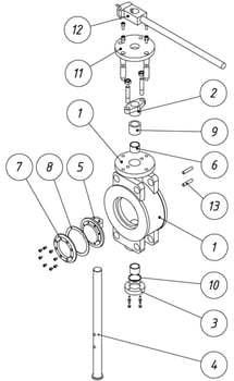 Затворы дисковые поворотные с тройным эксцентриситетом и уплотнением «металл–металл» ФБ99 (FB99)