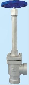Запорный клапан криогенный угловой типа DJZ-40A с длинным штоком