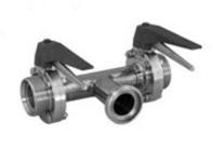 Клапан запорный 3-х ходовой 180° с двумя затворами
